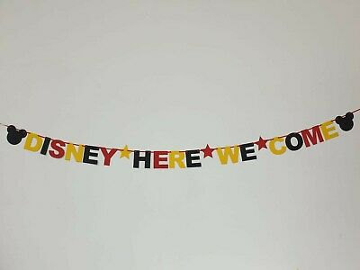 DISNEY REVEAL SURPRISE BANNER BLACK RED YELLOW Were off to Disneyland here we go 4