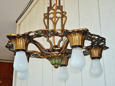 ORIGINAL 1930's VIRDEN Ceiling Light 5 Bulbs Art Nouveau Polychrome Chandelier 7