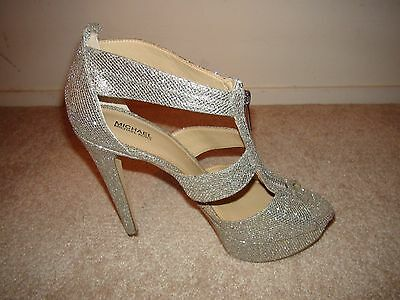 12dd2b37f675 ... Michael Kors Berkley T Strap Silver Glitter Platform High Heels  150  NEW 8 9 10 4