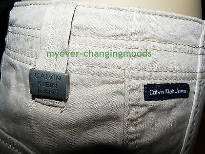 Calvin Klein Unisex Jeans 28 Waist 33 Inside Leg Stone Cream New Unworn Rrp £154 3