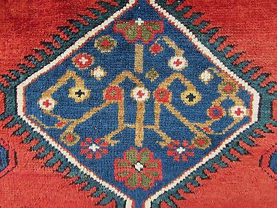 Antique Traditional Hand Made Caucasian Rug Red Green Wool Oriental Rug 142x99cm 8