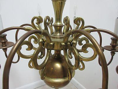 Vintage Brass Quality Williamsburg Federal Hanging Chandelier 10