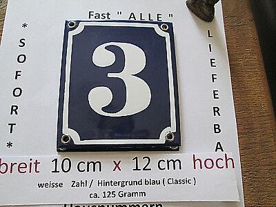 Emaille Hausnummer Nr 69  weisse Zahl auf blauem Hintergrund 12 cm x 12 cm