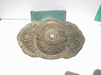 BEAUTIFUL ANTIQUE 1800's. SILVER BUCKLE WITH TOP DECORATION # 846 2