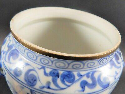 Chinese Blue White Porcelain Covered Jar Metal Clad Rim Shishi Finial Ex Skinner 4