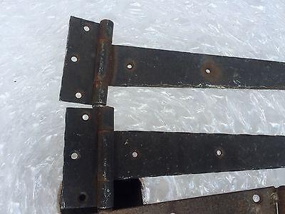 """3 sets of vintage antique strap hinges for doors 10, 16, & 19"""" L some rust"""