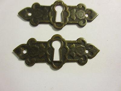 3 Antique Victorian Brass Hardware Drawer pulls Handles key escutcheon A 4