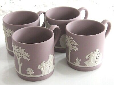 Antique / Vintage Lilac Wedgwood Jasperware Cupid Mythology Demitasse 4 Cup Set 9