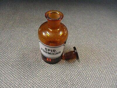 vintage Apotheken-Glas Fasche SPIRITUS Formicar. mit Stöpsel Verschluss 15 cm 2