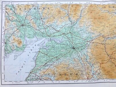 Vintage cloth OS MAP of SCOTLAND - DUMFRIESSHIRE, NORTHUMBERLAND - 1924, 2