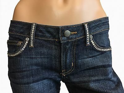 A7 Women/'s Jeans Skinny Embellished Bling Distressed Stretch Low Rise Denim