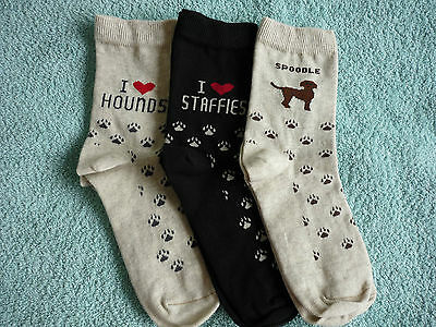 I Love Staffies Stafforshire Bull Terrier Dogs Heart Socks (For Humans!) 3