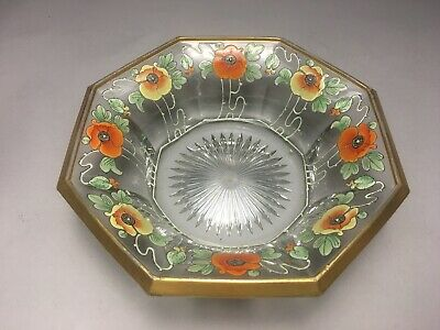 Incredible Heisey Glass Art Nouveau Poppies Flower Decorated Bowl 4