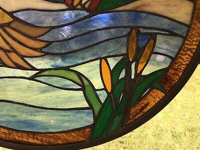 "19.75"" Round Tiffany Style Stained Glass Suncatcher Panel TWO MALLARD DUCKS"