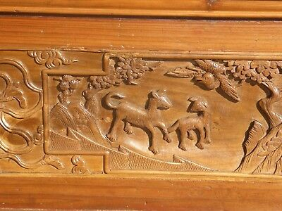 Antique Asian Chinese Carved Chinoiserie Door Panel Wall Hanging 10