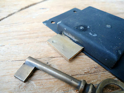 "old style CUPBOARD lock for Antiques doors furniture & brass key 4"" locks flush 2"