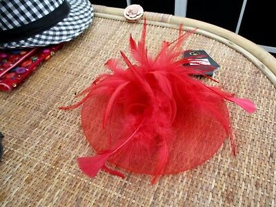 """hot fashion"" ladies red feathered fascinator 3"