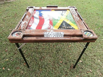 Domino Tables By Art With Jamaican Flag Puerto Rican Flag