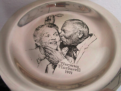 """Sterling 925 PLATES NORMAN ROCKWELL CHRISTMAS FRANKLIN MINT 8"""" -1971/75 - PICK 1 11"""