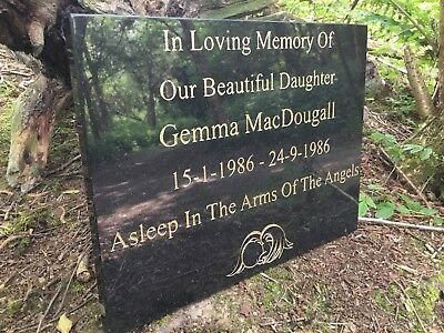 Memorial Grave Plaque Stone Engraved  Headstone Large  Black Granite 40x30cm 8