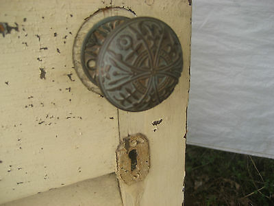 "SOLID - circa 1890 VICTORIAN shutter screen door w louvers 77.5"" x 30"" x 1.25"" 4"