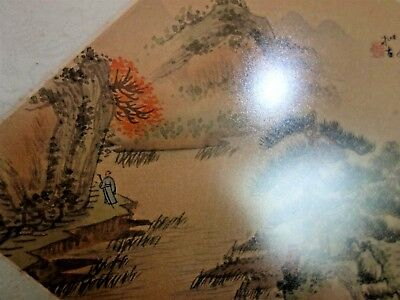 Rare Antique Chinese Fan Original Painting on Silk Fantastic Country Landscape 6