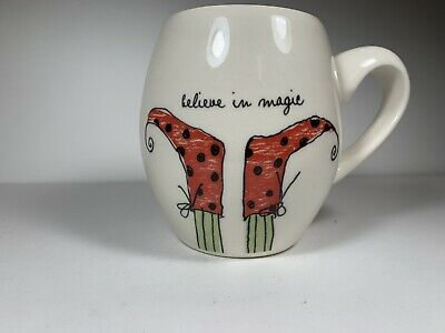 Rae Dunn Mug Artisan Collection Elf Feet Believe in Magic Red Interior