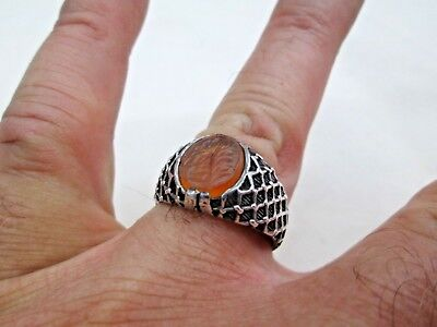 Personal Seal Stone Antique Islamic Yellow Agate Set In Sterling Silver Ring 4
