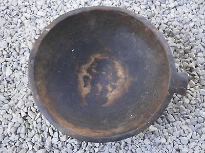 Old Rare Antique Wooden Hand Carved Bowl Mortar With Dark Patina 2