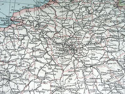 1896 Antique Original Map Of France / Showing German Alsace Lorraine 2