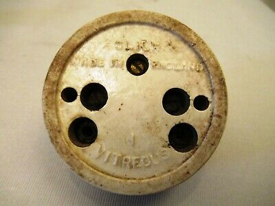 Vintage Made British Electric Switches Light Brass & Ceramic Porcelain Button #9 6
