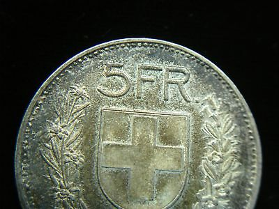 1951 B Swiss 5 Francs Silver Coin - Lovely & Orig. Toning 3