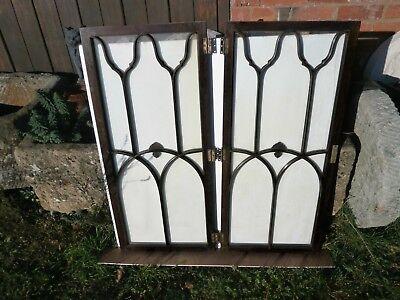 Pair of antique Cuban Mahogany astral glazed cupboard doors 5