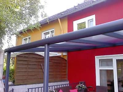 Terrassendach Alu Sonnenschutz-Stegplatten klar Terrassenüberdachung 6 m breit 2