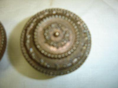 Antique Pair Brass Embossed Door Knobs Copper Bronze look,  7828 2