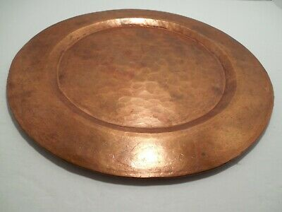 Vintage Arts & Crafts 12 inch Hammered Copper Plate 589 grams 2