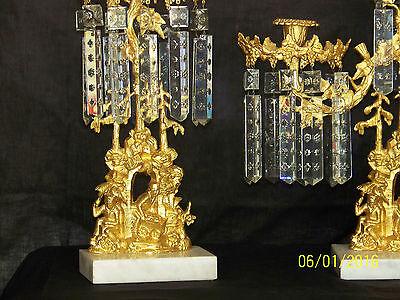 c1850's 3pc Set Girandole Majestic Candelabras Phili.-N.Y. w/Crystal Gold Gilded 10
