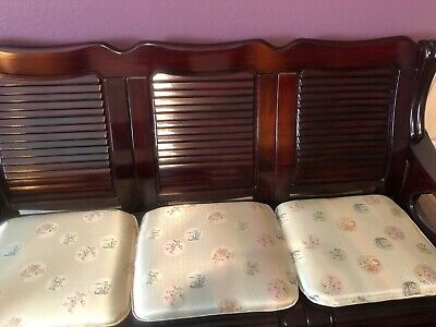 Antique Oriental Furniture Mahogany Couch w Five Seats and Coffee Table 2