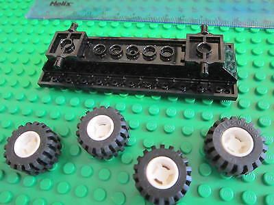 Lego 12 x 4 Vehicle Car Truck Long Base Flatbed WHITE Chassis White Wheels