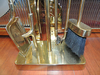 Three-Piece Custom-Made Art Deco Style Fireplace Hearth Ware Set screen/tools