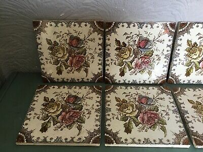 Antique Victorian Floral Ceramic Fireplace Tiles-8 available #5699 2