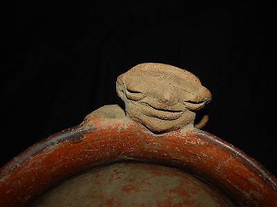 Seated Figure Polychrome Bowl, Authentic Pre-Columbian, Costa Rica 12