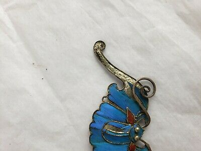 Antique Chinese blue Kingfisher feather hair stick pin ornament 2