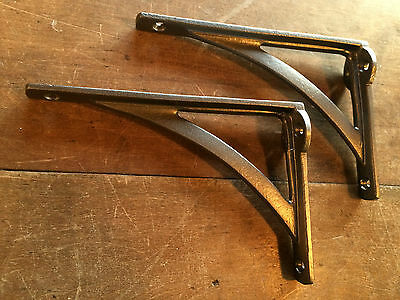 "Pair 6"" x 4"" SMALL INDUSTRIAL ANTIQUE CAST VICTORIAN SHELF BRACKETS ~ BR22p(x2) 3"