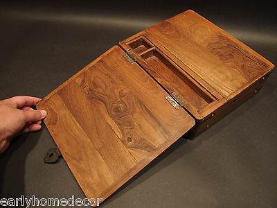 Antique Vintage Style Folding Document Writing Slope Lap Desk Campaign Box 6