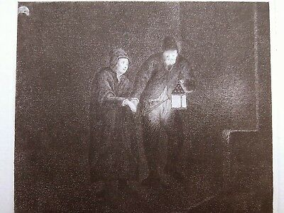Martin Baes  etching The Night Watchman Conducting a Woman (Rembrandt) 4