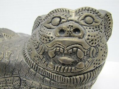 Antique Foo Dog Decorative Arts Container Punched Hammered Stamped Metal Box 5