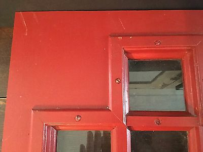 Old Vtg Wood Glass Architectural Cross Church Original Red Paint Door Insert 5