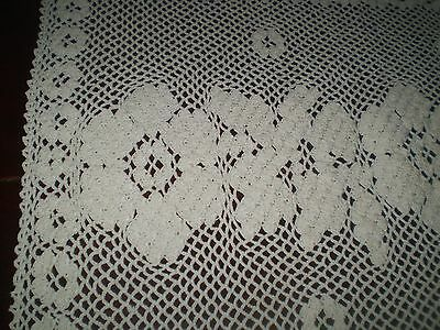 Stunning Vintage Hand-Knitted Cotton Crochet  Tablecloth  ecru