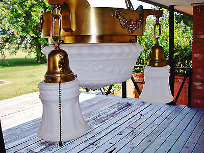Salvaged Elegant Antique Colonial Revival 4 Bulbs Ceiling Lamp Chandelier 5